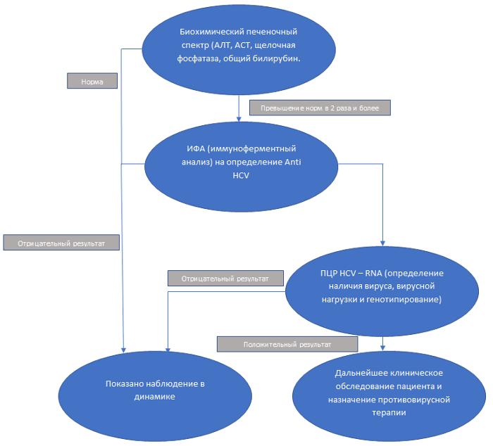Схема выявления гепатита С